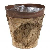 Pot with birch and metal Ø17.5cm H16.5cm 1p