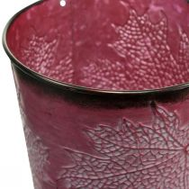 Decorative pot for planting, metal bucket, metal decoration with leaf pattern wine red Ø14cm H12.5cm