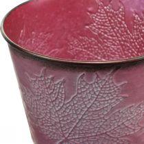Plant pot with leaf decoration, autumn decoration, metal planter wine red Ø16.5cm H14.5cm