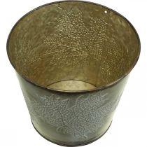 Autumn pot, planter with leaves, golden metal decoration Ø16.5cm H14.5cm
