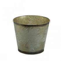 Plant bucket with leaf decoration, metal vessel, autumn golden Ø18cm H17cm