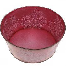 Planter bowl for autumn, metal vessel with leaf decoration, decorative pot wine red Ø25cm H11cm