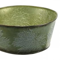 Planter bowl with maple leaves, autumn decoration, metal container green Ø25cm H11cm