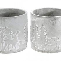 Plant pots with forest motif, Advent decoration, planter for Christmas, concrete decoration Ø10.5cm H11cm 4pcs