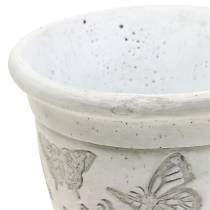 Plant pot planter cup with butterflies Ø12.5cm H13cm 2pcs