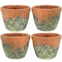 Plant pot planter vintage natural clay Ø8.5cm H7cm 4pcs