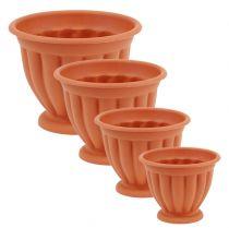 Pot with foot plastic terracotta Ø 15cm - 21cm, 1 pc