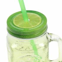 Drinking glass with lid and straw assorted Ø7cm H13.5cm 2pcs
