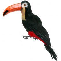 Decorative toucan with feathers black L37cm
