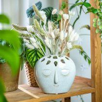Vase with face cream, beige H18cm stoneware look 1p