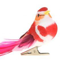 Bird on clip pink, pink 15cm 12pcs
