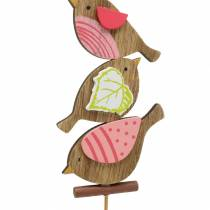 Spring decoration birds with stick wood assorted H10.5cm 12pcs