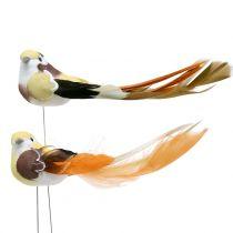 Bird on wire brown / orange 14cm 12pcs
