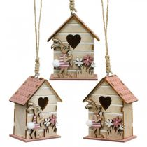 Birdhouses to hang, spring, decorative birdhouse with bunny, Easter decoration 4pcs