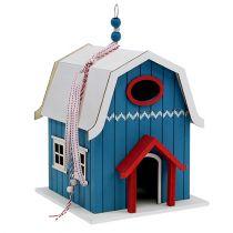 Bird house, decoration house blue 21cm x 30cm