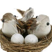 Bird's nest with eggs and bird 6pcs