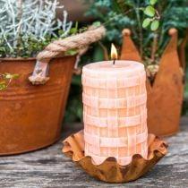 Rustic candles, pillar candles basket pattern, orange wax candles 110/65 2pcs