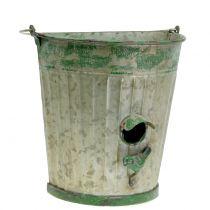 Decorative bird house to hang antique green H26cm