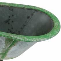 Decorative tub metal used silver, green 44.5cm x18.5cm x 15.3cm