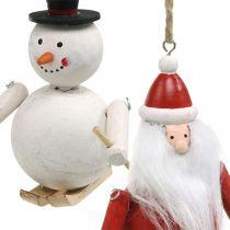 Christmas tree decorations wood Santa Claus and snowman 11cm 2pcs