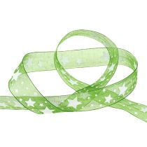 Christmas ribbon green with star pattern 25mm 20m
