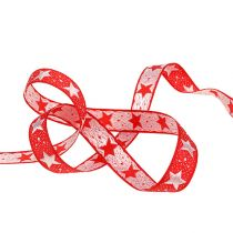 Christmas ribbon with stars red 15mm 20m