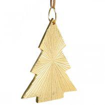 Christmas tree metal gold 8x10cm for hanging 3pcs.