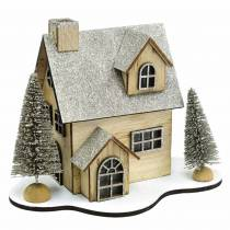 Christmas house with natural LED lighting, glitter wood 20 × 17 × 15cm
