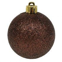 Christmas balls chocolate brown mix Ø6cm 10pcs