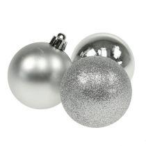 Christmas ball plastic silver 6cm 10pcs