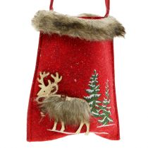 Christmas bag red with fur 15.5cm x 18cm 3pcs
