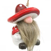 Decorative pixies ceramic to hang with mushroom hat red, white H8cm 4pcs