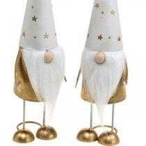 Gnome decoration figure Christmas white, gold 6.5cm H28cm 2pcs