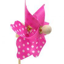 Decorative windmill with dots Pink Ø8cm 12pcs