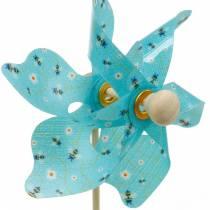 Windmill pinwheel bees turquoise Ø8.5cm summer decoration garden 12pcs