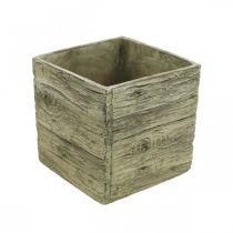 Flower pot square 18x18cm concrete box wood look