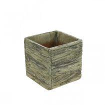 Flower pot square 15x15cm concrete planter wood look
