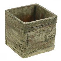Plant pot square 9.5x9.5cm concrete planter wood look