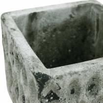 Plant pot, ceramic vessel, table decoration antique optics H8cm 4pcs