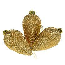 Cones plastic light gold 8cm 6pcs. for hanging