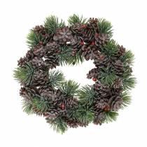 Cones wreath snow-covered Ø18cm
