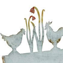 Zinc tray spring meadow and rooster 30cm