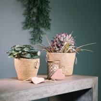 Zinc pot with jute planter Ø13cm H12cm
