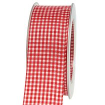 Gift ribbon with selvedge 20m red checkered