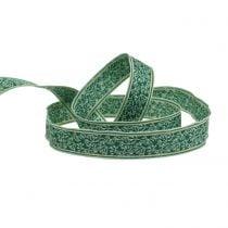 Gift ribbon berry bush jacquard with wire edge dark green, mint 25mm L15m