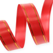 Gift ribbon 2 gold stripes on red 19mm 100m