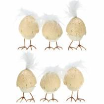 Chicks in the eggshell white, cream 6cm 6pcs