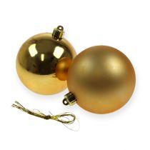 Christmas baubles plastic gold 8cm 6pcs