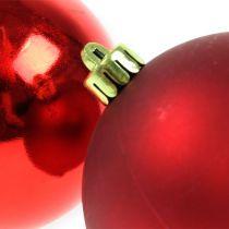 Christmas baubles plastic red 8cm 6pcs