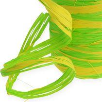 Raffia ribbon bicolour green-yellow 200m